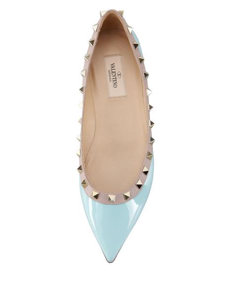 Rockstud Leather Ballerina Flat, Turquoise