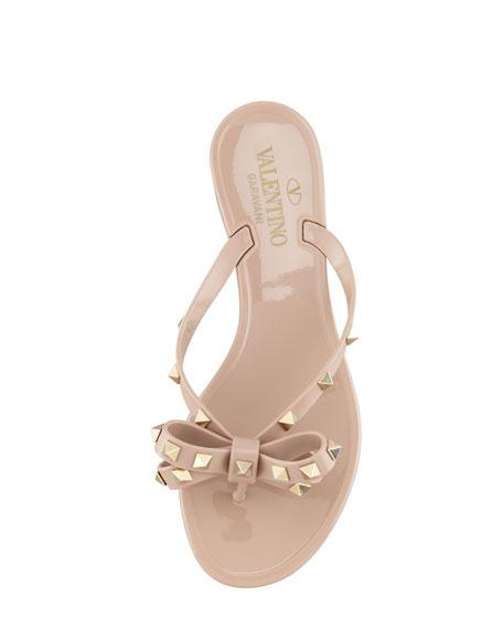 9c0e14efd3 Valentino Rockstud PVC Thong Sandal, Poudre