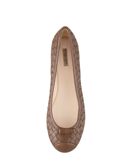 Woven Leather Ballerina Flat, Dark Brown