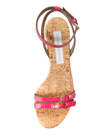 Faux-Crocodile Cork Ankle-Wrap Wedge, Pink