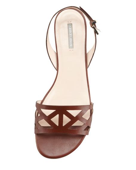 Geometric Halter Flat Sandal, Tan
