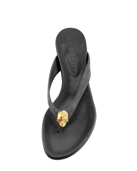 Skull Suede Thong Sandal, Black