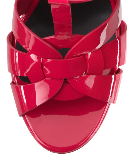 Tribute Patent Leather Sandal, Fuchsia