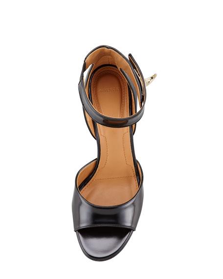 High-Heel Ankle-Wrap Shark-Tooth Sandal