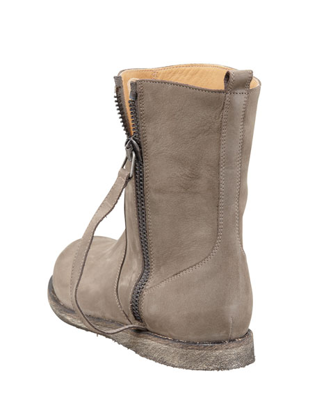 Nubuck Side-Zip Flat Boot