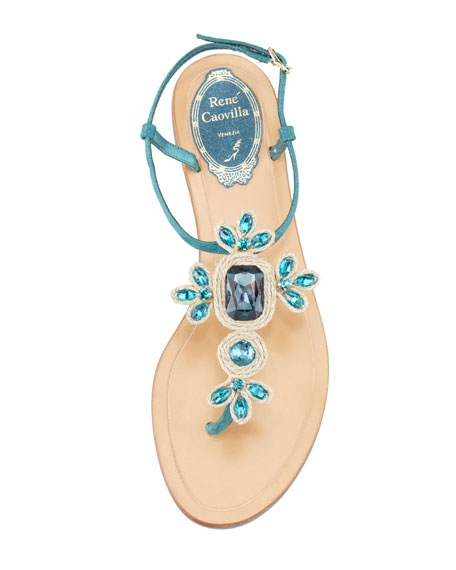 Crystal-Thong Sandal, Blue