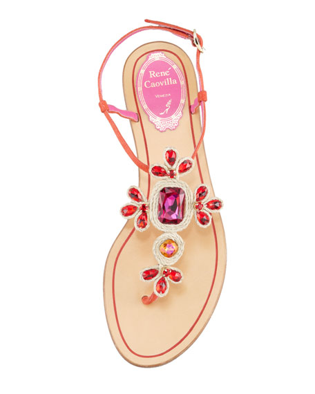 Crystal-Thong Sandal, Fuchsia