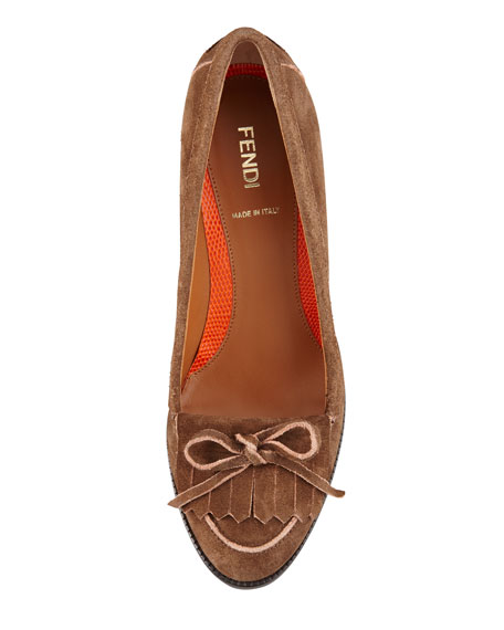 Austen Suede Loafer Pump, Brown/Orange