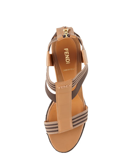 T-Strap Wedge Sandal, Tobacco