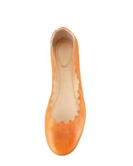 Scallop-Edge Ballerina Flat, Cognac