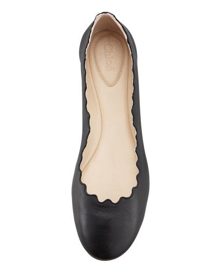 Scallop-Edge Ballerina Flat, Black