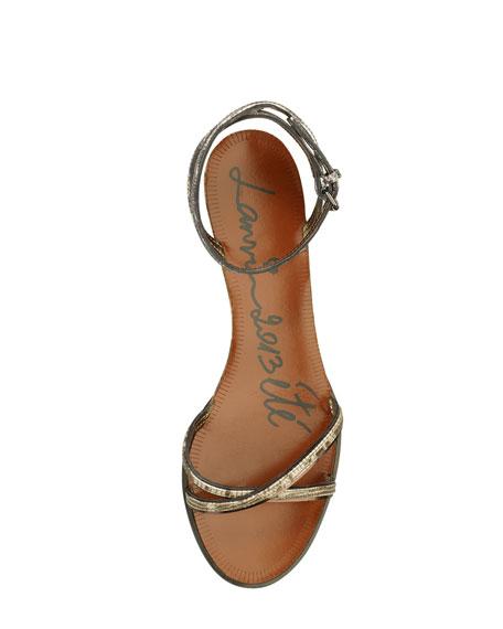 Snake-Printed Cork Wedge Sandal