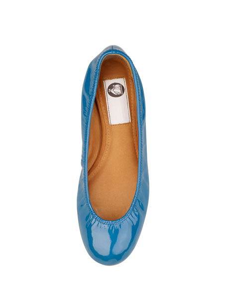 Patent Leather Ballerina Flat, Turquoise