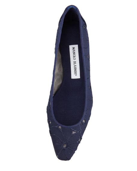 Leela Eyelet Ballerina Flat, Navy