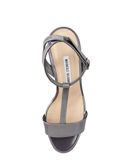 Lette T-Strap Ankle-Wrap Wedge Sandal