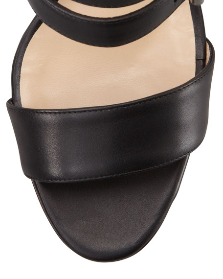 Bakhita Double-Buckle Sandal, Black
