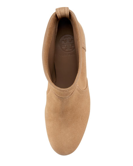 Lindsay Suede Bootie, New Almond