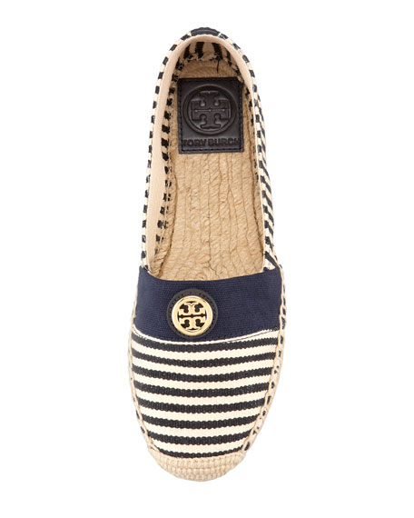Beacher Canvas Logo Espadrille Flat, Natural/Navy