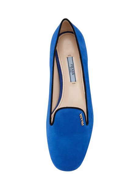 Bicolor Suede Smoking Slipper, Blue/Black