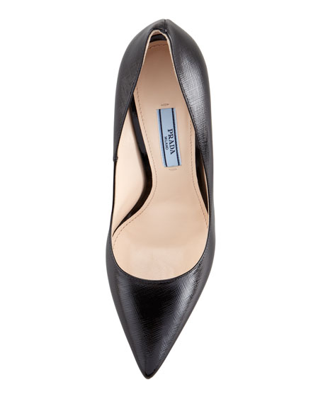 9277032101 Prada Patent Saffiano Pointed-Toe Pump, Black