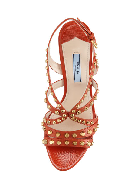 Studded Slingback Sandal, Orange