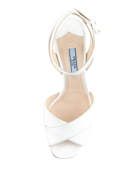 Patent-Leather Platform Sandal, White