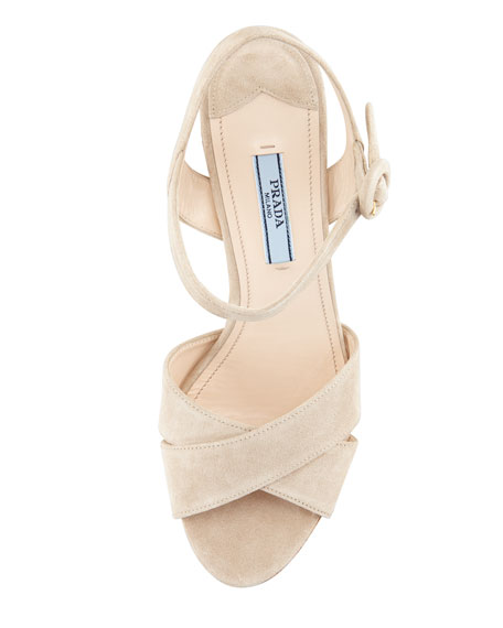 Suede Cork Wedge, Pomice