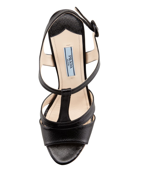 T-Strap Cork Wedge Sandal, Black