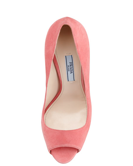 Suede Two-Tone Pump, Geranium