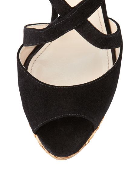Suede Crisscross Wicker Wedge Sandal, Black