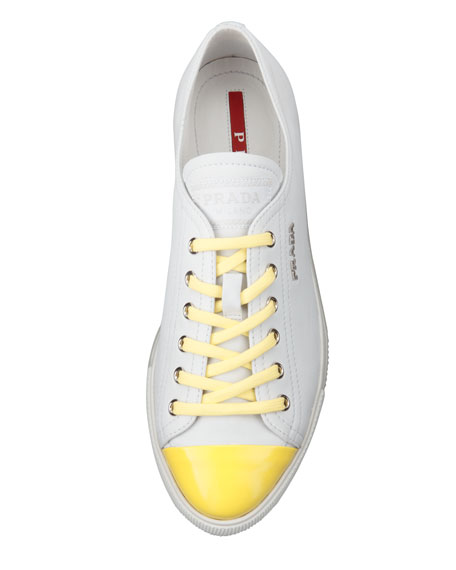 Fluorescent Cap-Toe Leather Platform Sneaker, White
