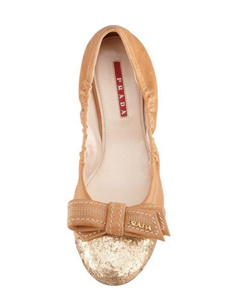 Glitter-Toe Scrunch Ballet Flat