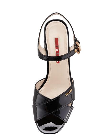 Patent Crisscross Platform Sandal, Black