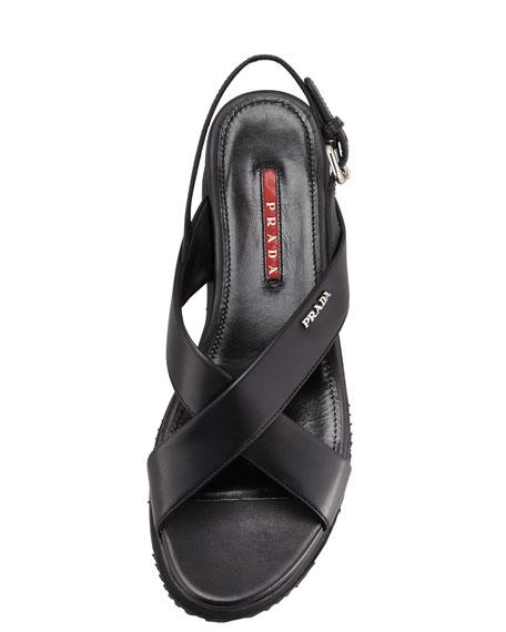 9a9b8eb8ac6d Prada Crisscross Platform Wedge Sandal