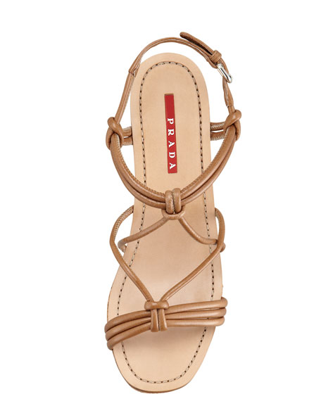 Strappy Knot Cork Wedge Sandal, Cannella