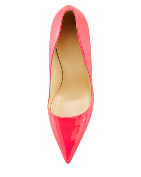 licorice patent pointed-toe pump, fuchsia