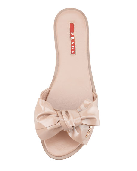 Patent Leather Bow Slide Sandal