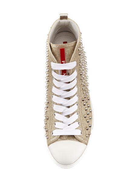 Studded Glitter High-Top Sneaker Gold