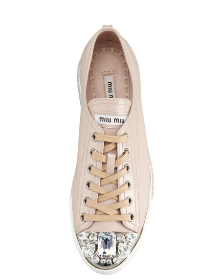 Jeweled Cap-Toe Sneaker, Cipria