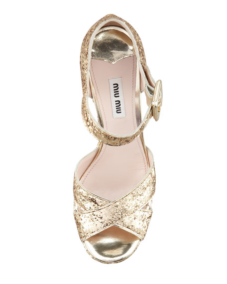 Glitter Crisscross Mary Jane Sandal, Gold