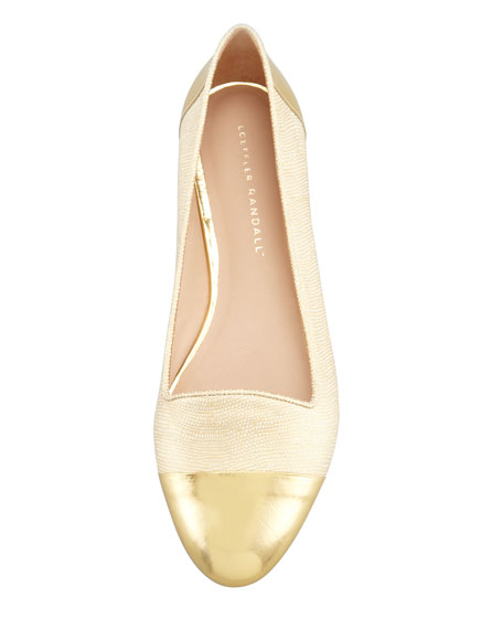 Britta Cap-Toe Lizard-Embossed Smoking Slipper, Gold