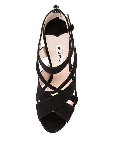 Strappy Suede Zip-Back Sandal, Black