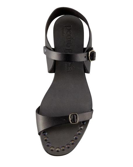Gillian Flat Leather Sandal, Black