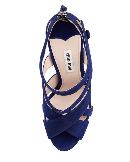 Strappy Suede Zip-Back Sandal, Cobalt