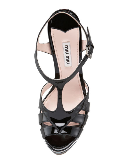 Patent T-Strap Wedge, Black