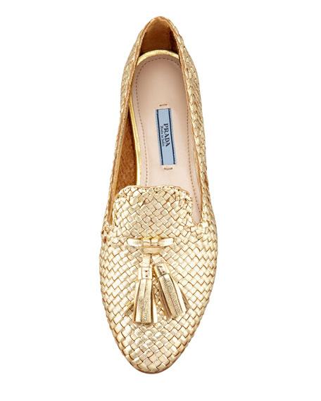 Madras Metallic Woven Leather Tassel Loafer