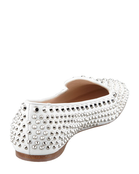 Metal Studded Leather Loafer, White