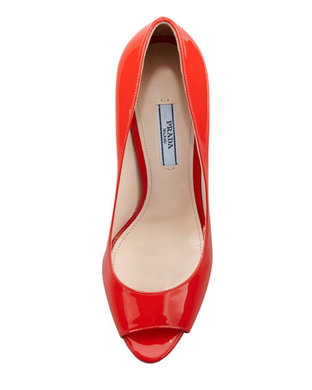 Patent Peep-Toe Pump, Red
