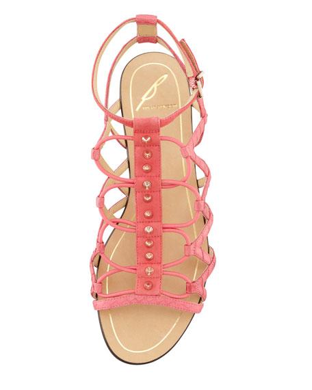 Agustina Stretch Flat Sandal, Rose