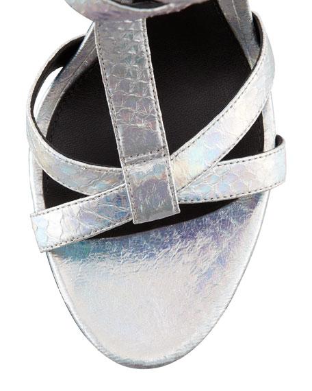 Laetitia Hologram Snakeskin Sandal, Silver